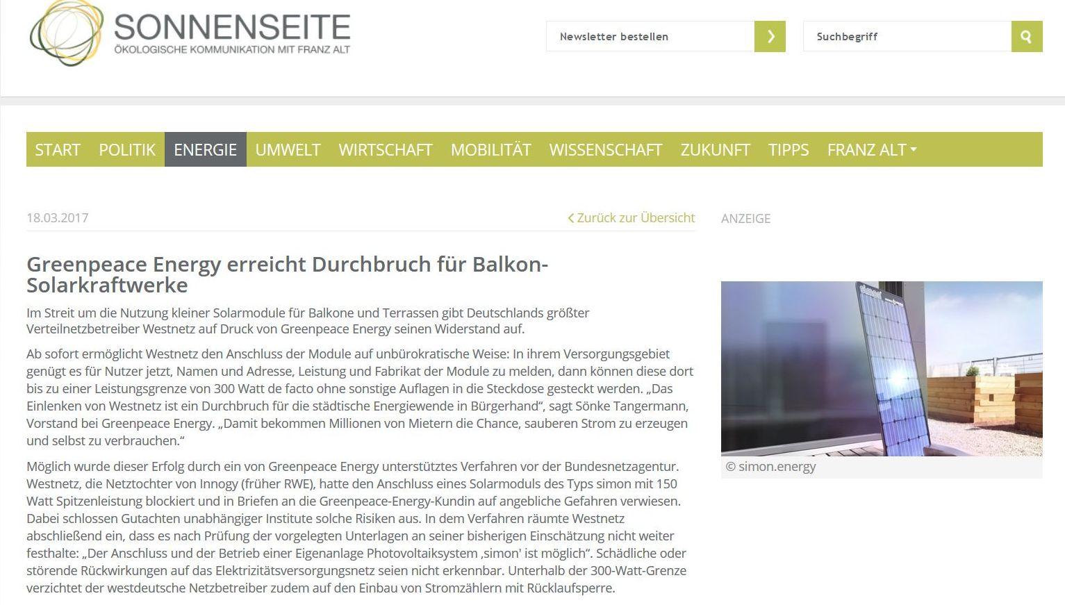 Solar für Balkone